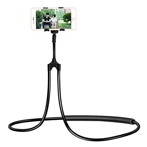 Soporte Universal Elegante del TeléFono MóVil, Universal Colgando En El Cuello Perezoso Titular De TeléFono, 360 Grados De RotacióN Flexible Soporte Perezoso, para Smartphone (Negro)