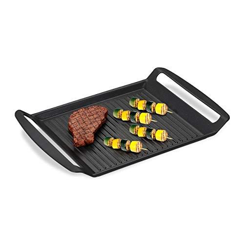 Relaxdays 10031495 Grillplatte, Gas-& Elektroherd, Fleisch Gemüse Fisch Grillen, Antihaft Grillpfanne, BxT 23x26 cm, anthrazit, Metall