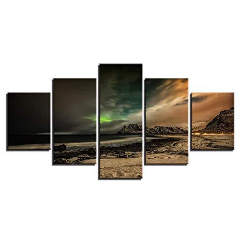 INFANDW Wandkunst Leinwand Berg Aurora Nachtszene Leinwanddrucke 5 Panels Gemälde Artwork Muster 150x80cm Poster Drucke Auf Leinwand Modern Für Kinderzimmer Home Decor (Kein Rahmen)