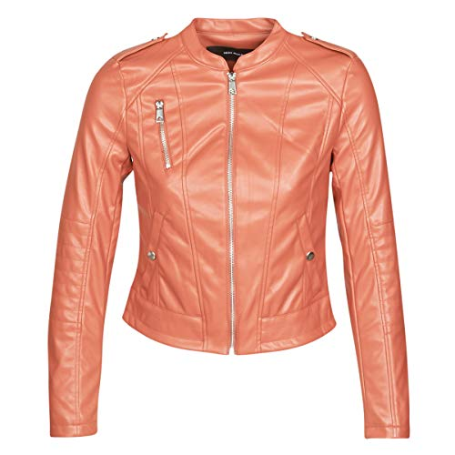 VERO MODA VMAWARDALMA Jacks/Blazers femmes Oranje Leren jas/kunstleren jas