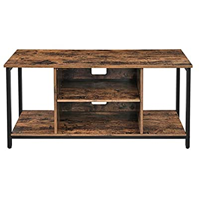 VASAGLE TV Stand, Cabinet with Open Storage, TV Console Unit with Shelving, for Living Room, Entertainment Room, Rustic Brown LTV39BX