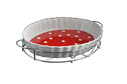 GELA B-Ware Plat à gratin ovale en porcelaine résistant à la chaleur Plateau de service plat sur support en métal pour la cuisson et le service pour le poisson et le barbecue