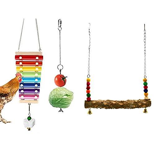 Kaimeilai Kippenspeelgoed, vogelspeelgoed, kippenschommel, kippenschommel, xyofoon speelgoed met bloemen, stenen om te…