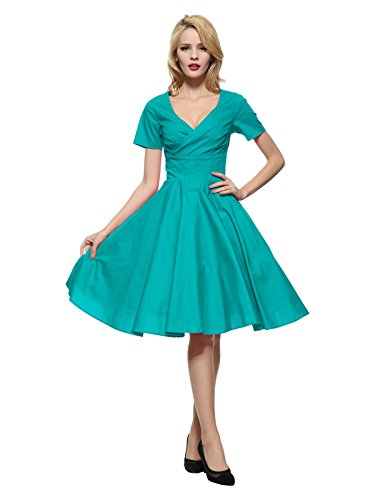 Maggie Tang 1950 60s Vintage Cocktail Swing Rockabilly Party Summer Dress TL 3XL Teal