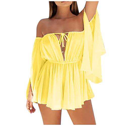 Women's Summer Off-Shoulder Chiffon Solid Dress Sexy Deep V Neck Backless Beach Party Club Mini Short Dresses Yellow