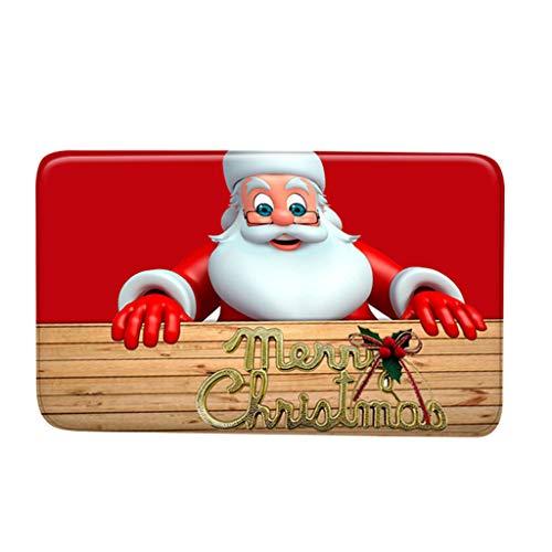 Z&HA Muñeco de Nieve del bastón de Caramelo de Suelo Decorativo Mat Vacaciones Feliz Navidad del Copo de Nieve Felpudo Felpudo para la Cocina Porche Sala, 40X60CM,b