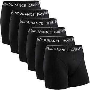 DANISH ENDURANCE Calzoncillos Bóxers de Algodón para Hombre, Ropa Interior, Elásticos, Ultrasuaves, Pack de 6 (Negro, XL)