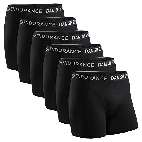 DANISH ENDURANCE Calzoncillos Bóxers de Algodón para Hombre, Ropa Interior, Elásticos, Ultrasuaves, Pack de 6 (Negro, L)
