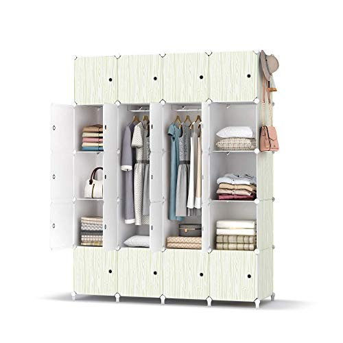 armoire organizers HOMIDEC Portable Closet Wardrobe with Clothes Hanging Rod, Closet Organizers and Storage Shelves Cabinet Armoire for Bedroom, (56x18x70'', 20 Cube)