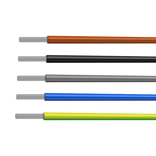 NorthPada 14 AWG 1,5 mm² Elektronik Elektrischer Draht Kit Litzen Silikon Leitungen Draht Verzinntes Kupfer Kabel 5 Farbe 600V 20A -60°C - +200°C 5 x 3meter