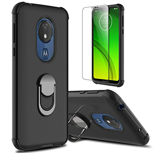 lovpec Moto G7 Power Case, Moto G7 Supra Case with Soft TPU Screen Protector, Moto G7 Optimo Maxx Case, Ring Magnetic Holder Kickstand Protective Phone Cover Case for Motorola Moto G7 Power (Black)