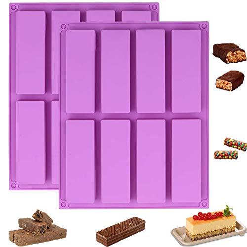 2er Pack große rechteckige Müsliriegelformen, 8-Fach Silikon-Antihaftformen Energieriegel Backform für die Herstellung von Muffins Schokoladen-Müsliriegel