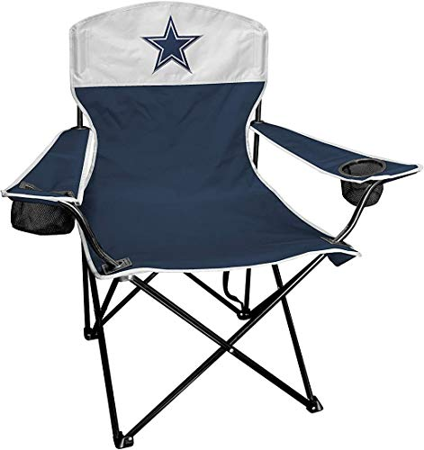 Rawlings NFL XL Lineman Tailgate and Camping Folding Chair, Dallas Cowboys, Navy, White