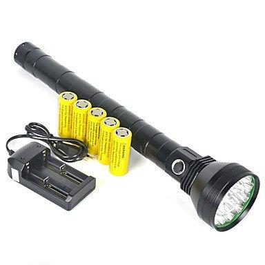 Grh Camping 18t6 22000lm 18 x XM-L L2 LED Lampe de poche lampe torche 5 x 26650 Battey chargeur