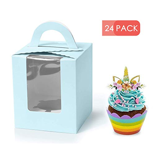 Single Cupcake Boxes with Window, 24pcs Gift Box for cupcake to go for Wedding Decoration, Party Favor, Blue