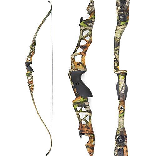 SHARROW 30-50lbs Takedown Recurve Bogen 64 Zoll Jagdbogen Zielübung Jagd Erwachsene Bogen Aluminiumlegierung Riser Rechte Hand Longboegn (Camo, 40lbs)