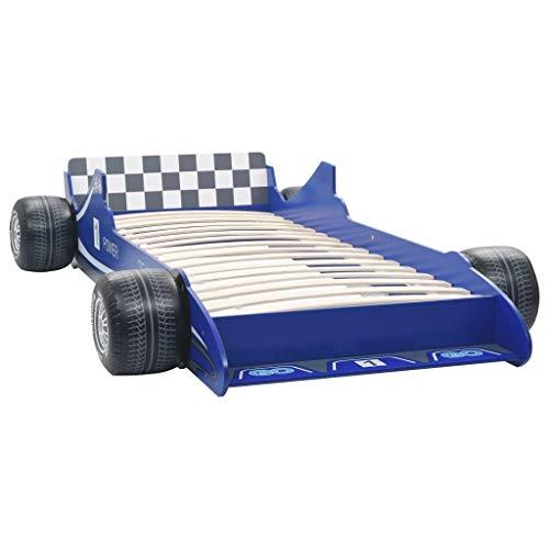 vidaXL Cama con Forma de Coche de Carreras para Niños Mobiliario Infantil Niños Pequeños Diseño Atractivo Funcional Cómoda Confortable 90x200cm Azul