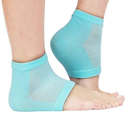 Lot de 5 paires de chaussettes à talon hydratantes ventilées en gel pour peaux sèches et craquelées