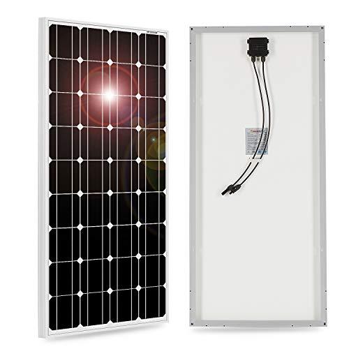 DOKIO Panel solar monocristalino de 100 W, 12 V, con cable solar para autocaravana, camping, casa de jardín