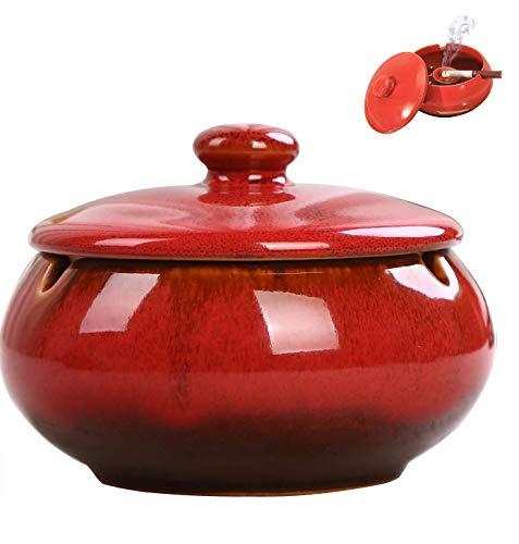 AMITD Chinesische Keramik Aschenbecher mit Einer Abdeckung Retro Persönlichkeit kreative Geschenk Zigarre Rauch und Rauch eine kleine Couchtisch Hause Dekoration, Rot