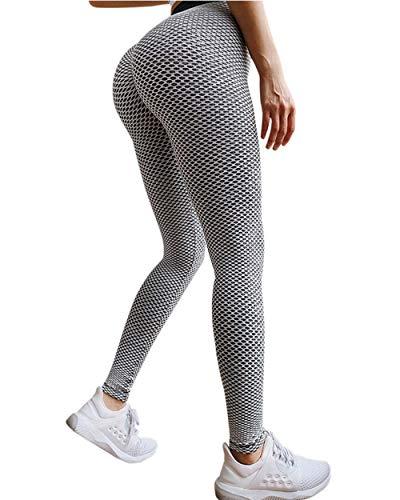 OMKAGI Women Ruched Butt Lift Yoga Pants High Waisted Tummy Control Scrunch Booty Leggings(L,3-Grey)