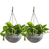 Hanging Planter Flower Plant Pots - 10 Inch Indoor Outdoor Balcony Patio Hanging Basket Set of 2, Marble Pattern