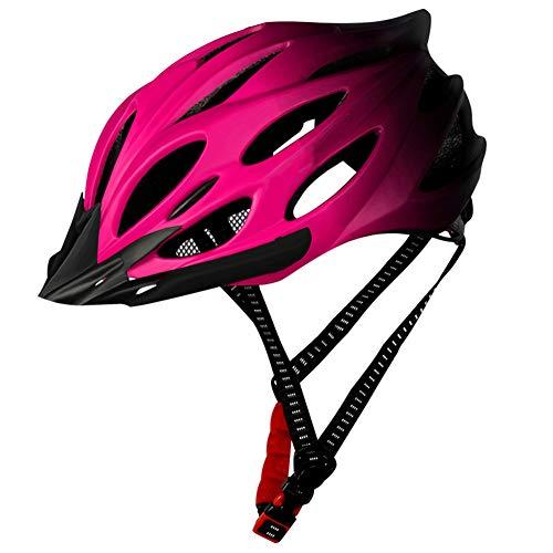 Casco De Ciclista, Casco De Ciclista, Ligero Casco De La Bici del Casco De La Bicicleta con La Luz Trasera Ajustable Hombres Mujeres Rosa