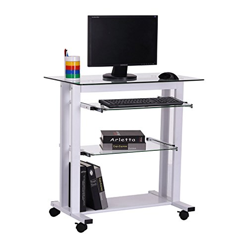 HOMCOM Computer Desk Glass Table Workstation Laptop pc desk mobile with wheels White