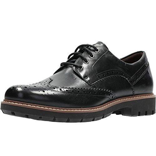 Clarks Batcombe Wing, Scarpe Stringate Derby Uomo, Nero (Black Leather), 41 EU