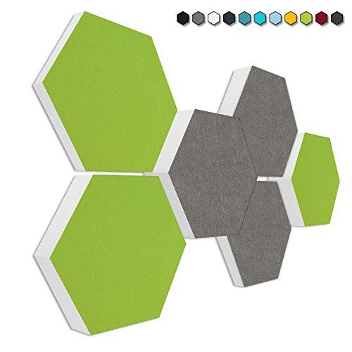 """Basotect G+ Schallabsorber 3D-Set""""Colore"""" Akustikelemente Filzoberfläche HELLGRÜN + GRANITGRAU"""