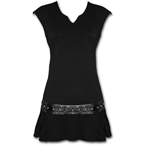Studwaist, vestido de fantasía gótica de metal negro - L - Spiral