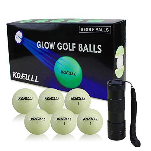 Kofull Leuchtende Golfbälle, fluoreszierend, automatische Lichtaufnahme, dunkle Bälle (6 Golfbälle + Taschenlampe)