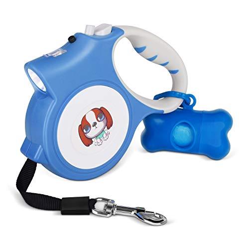 ライト付き リード Makife 犬用リード 伸縮リード 犬 自動巻き リード 15個ゴミ袋付き 長さ5M 荷重25kg 調節可能 小型 中型犬対応