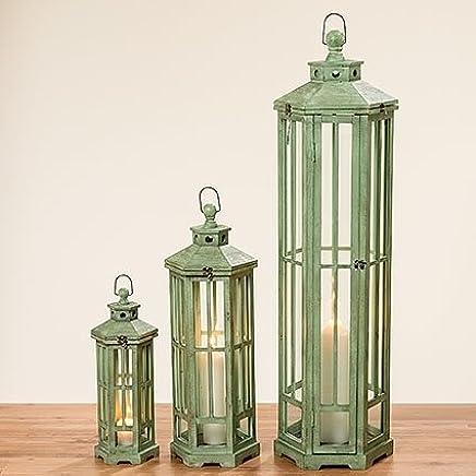 Boltze Laterne Marleen Laternen Windlicht Holz  Glas in Grau 34 cm
