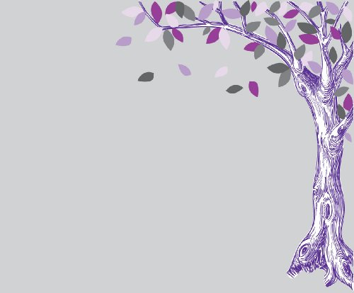 Corner Oak Tree Wall Decal with Purple and Gray Leaves
