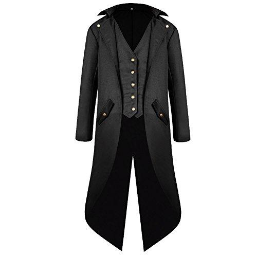 H&ZY Men's Steampunk Vintage Tailcoat Jacket Gothic Victorian Frock Coat Uniform Halloween Costume Black