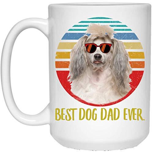 N\A Taza de café Retro de la Puesta del Sol del papá de la Crema del Mejor Perro Crestado Chino Divertido