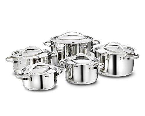 KOPF Stilo Batería de Cocina con Tapas, Apta para Inducción, Acero Inoxidable, 10 piezas