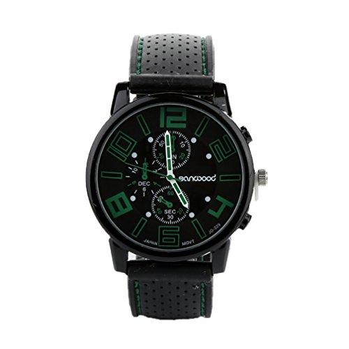 Livecity® Herren Casual Sport-Armbanduhr, Edelstahl, Quarz, analog, mit Silikonarmband, grün, Large