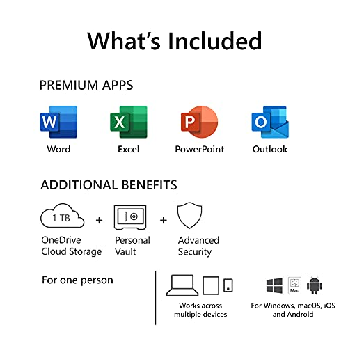 Microsoft 365 Personal |Email delivery in 1 hour| 12-Month Subscription, 1 person | Premium Office apps | 1TB OneDrive cloud storage | Windows/Mac 2