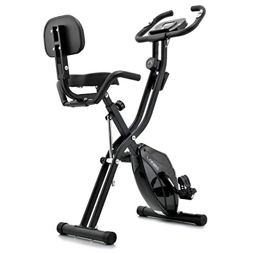 Folding Exercise Bike with 10-Level Adjustable Magnetic Resistance | Upright and Recumbent Foldable Stationary Bike is the Perfect Workout Bike for Home Use for Men, Women, and Seniors (Black/Black)