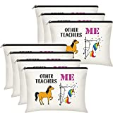 7 Pieces Teacher Appreciation Gifts Makeup Bag Personalized Cosmetic Case Travel Toiletry Bag Teacher Pencil Pouch Teacher Supplies for Elementary High School (Other Teachers Me)