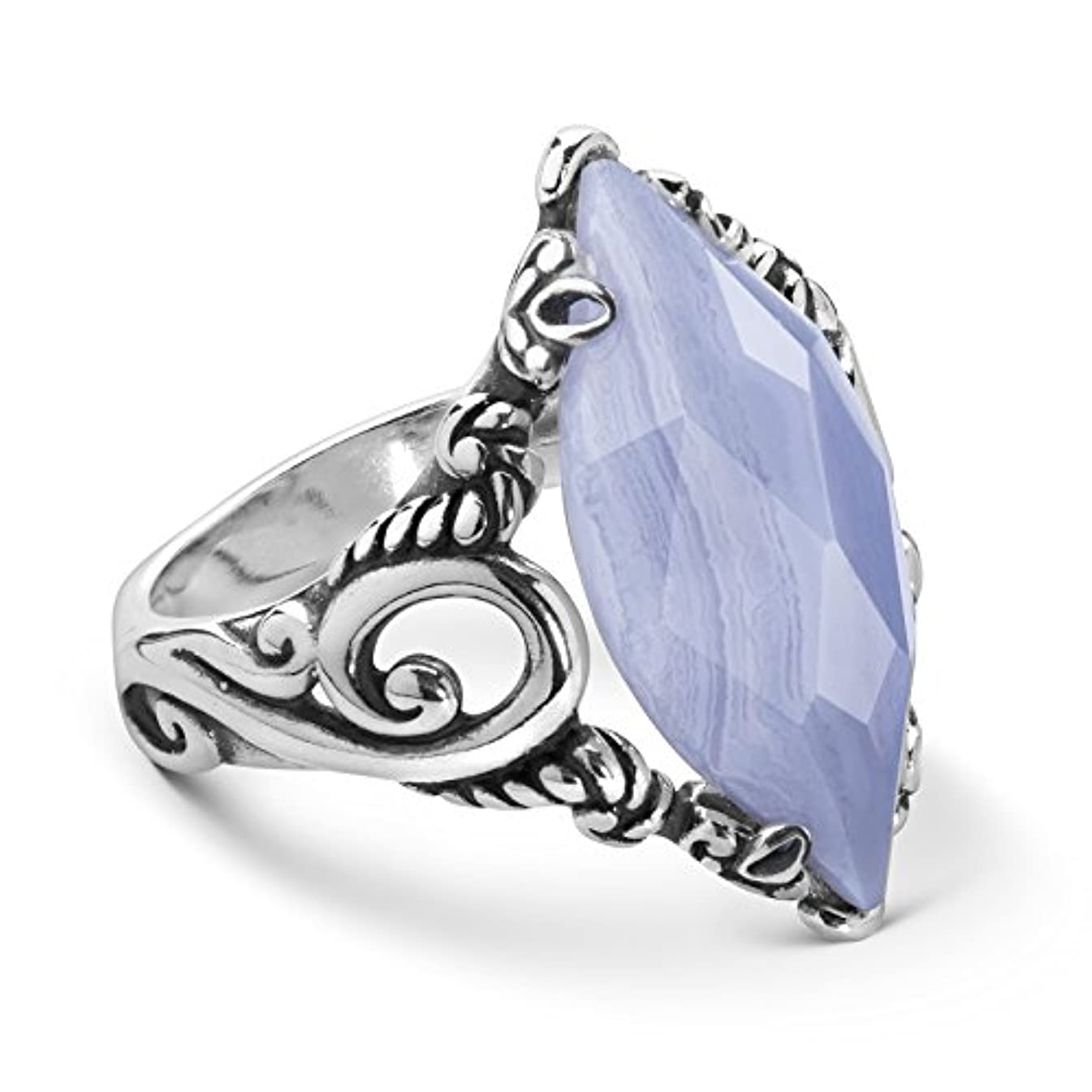 Carolyn Pollack Sterling Silver Blue Lace Agate Gemstone Marquise Ring Size 5 to 10