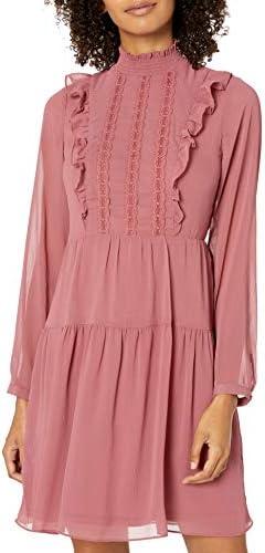 kensie Women s Crinkle Chiffon Dress Vintage Rose Combo Extra Large product image