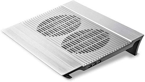 ZOUSHUAIDEDIAN Laptop Cooling Pad, portátil de Aluminio de refrigeración for 15-17 Pulgadas Oficina de Juego portátil con Ventilador de refrigeración, 4 Puertos USB, Plata