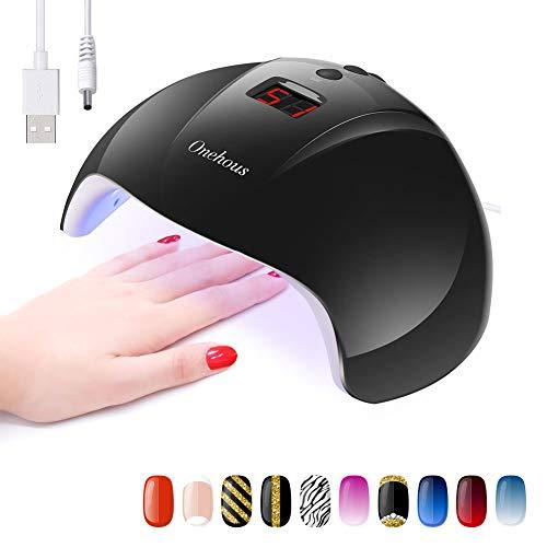 LED/UV Lampe für Gelnägel, Onehous Tragbare nageltrockner für alle Nagellacke, USB Aufladen mit LCD Display, Infrarot Sensor mit 30s/60s/90s Timer Einstellung (Schwarz)