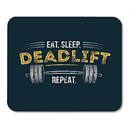 Mausemat Eat Sleep Deadlift Gym Motivierender Zitat-Effekt Und Langhantel-Training Inspirierend Für Fälle Computerspielmatte Schulspezial Tastatur Mousepad Gummi Gedruckt 25X30Cm