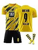 Funk Camiseta de fútbol Dortmun Local 9# 17# Haaland Soccer Jerseys Set Camiseta de Entrenamiento Deportivo y Conjunto de Pantalones Cortos para Adultos y niños