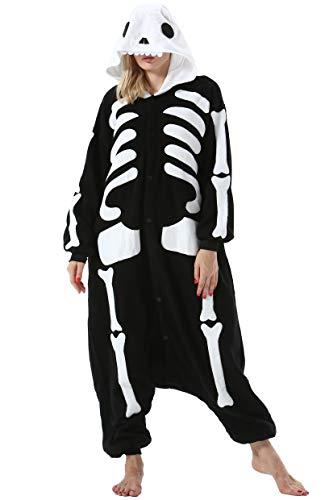 Damen Jumpsuit Onesie Tier Fasching Halloween Kostüm Lounge Sleepsuit Herren Cosplay Overall Pyjama Schlafanzug Erwachsene Unisex Skelett for Höhe 140-187CM