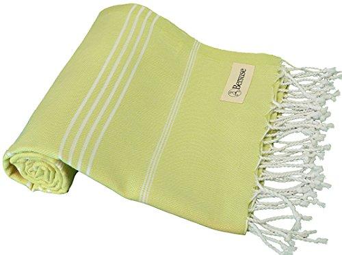 Bersuse Toalla turca Anatolia 100% algodón – Toalla de baño de Playa Fouta Peshtemal – Pestemal clásico Rayas – 91 cm x 182 cm, Verde Pistacho